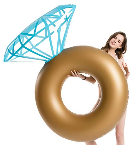 Jasonwell Inflatable Diamond Ring Pool Float - Engagement Ring Bachelorette Party Float Stagette Decorations Swimming Tube Floaty Outdoor Water Lounge for Adults & Kids