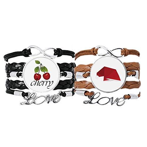 Bestchong Armband mit roter abstrakter Hut, Origami-Armband mit Handschlaufe, Lederseil, Kirschmotiv, Liebesarmband, Doppelset