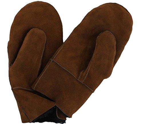 Sonia Originelli Fausthandschuh Schaf Lammfell Fäustlinge Leder Handschuhe Farbe Braun, Größe M