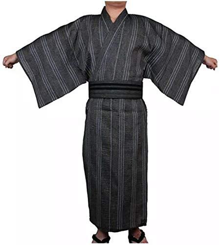 Double Villages Herren Japanisch Yukata Kimono Robe Pyjama Yukata Bademantel Robe (L, Schwarz & Grau)
