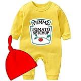 YSCULBUTOL Baby Ketchup Mostaza Recién Nacido Traje BabyTwins Body Foodie Set de regalo - amarillo - 3-6 meses
