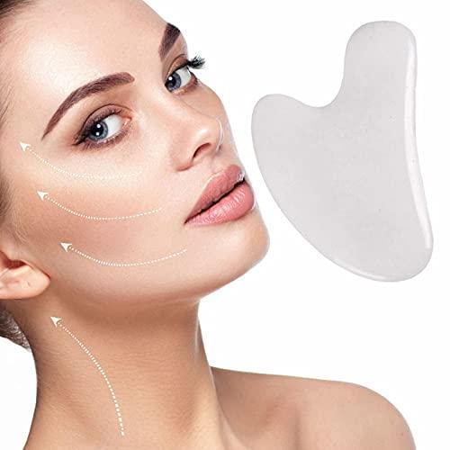 ZYZS Gua Sha Massagewerkzeug, 100% Natürliches Jadestein-Gesichtspflegewerkzeug Rosenquarz-Schönheitswerkzeug Gesichts Gua Sha zum Abnehmen und Straffen Kristallherzform