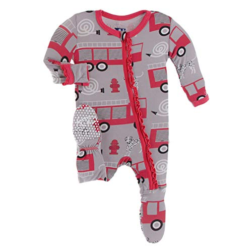 KicKee Pants Print Muffin Ruffle Footie with Zipper (Feather Firefighter - 3-6 Months)