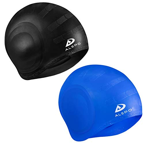 2 Pack Unisex Swim Caps with 3D Ear Protection, Durable Flexible Silicone Swimming Hats for Women Men Kids Adults, Bathing Swimming Caps for Short/Long Hair with Ear Plugs&Nose Clip