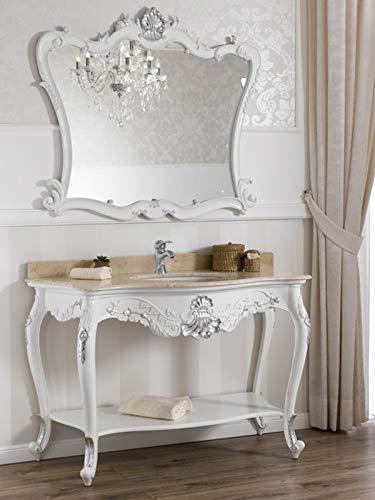 SIMONE GUARRACINO LUXURY DESIGN Console Salle de Bain avec Miroir Eleonor Meuble-lavabo Style Baroque Moderne Blanc laqué et Feuille Argent marbre crème