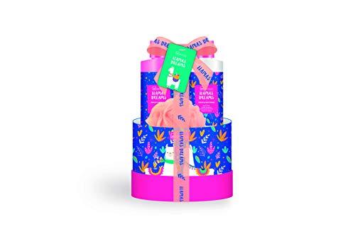 IDC Institute Peach & Nectarine Scented Llama Round Box 4pcs - 1x Shower Gel 200ml, 1x Body Lotion 200ml, 1x Bath Salt 150g, 1x Bath Puff 15g