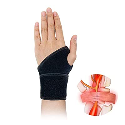 Carpal Tunnel Wrist Brace for Tendinitis and Arthritis,One Hand Adjustable Compression Wrist Support Wrap with Pain Relief - Comfortable Lined Fits Both Hands