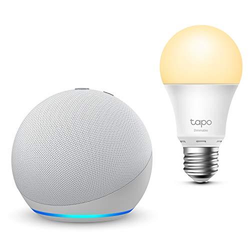 Der neue Echo Dot (4. Generation), Weiß + TP-Link Tapo smart Lampe (E27), Funktionert mit Alexa