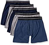 Amazon Essentials Men's 5-Pack Knit Boxer Short, Charcoal/Dark Blue/Navy, Large