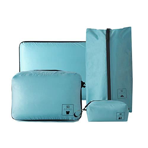 NINETYGO トラベルポーチ 4点セット 大容量 衣類 かわいい アレンジケース 多機能ポッチ パッキングバッグ 衣類収納 収納ケース 旅行 出張 整理用 ブルー