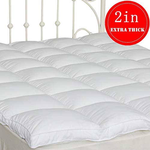 "SUFUEE Mattress Topper Twin Down Alternative Mattress Pad 2"" Extra Thick Mattress Cover Overfilled Fluffy and Firm Pillow Top (39"