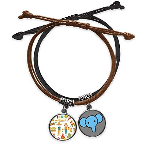 Beauty Gift Smiling Fire Cactus Guitar Festival Illustration Bracelet Rope Hand Chain Leather Elephant Wristband