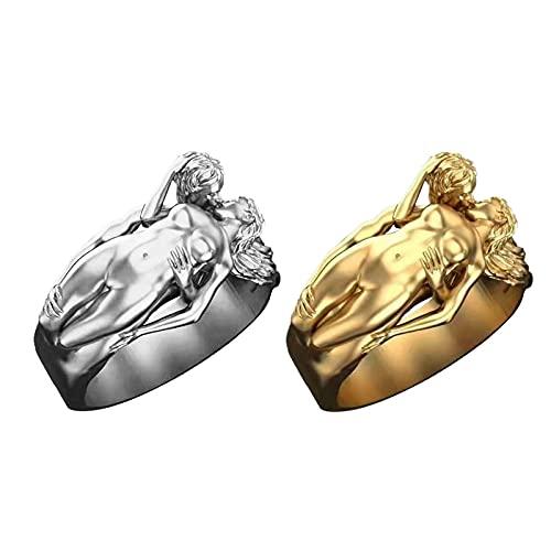 HEling Par de anillos para boda, beso con circonitas, anillos de compromiso, anillos de princesa, corte de diamante, para boda, regalo de compromiso, juego de 2 unidades