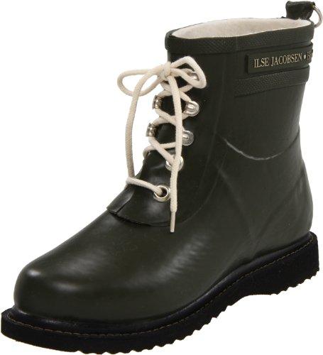 ILSE JACOBSEN HORNBÆK | RUB2 Gummistiefel | 100% Natur Bio Gummi | PVC frei | Kurze Stiefel mit Schnürsenkel aus Baumwolle | Army | 39 EU