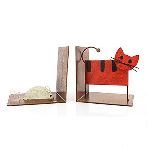 """Buchstützen """"Katze und Maus"""" aus Metall - Fair Trade - 14x14cm"""