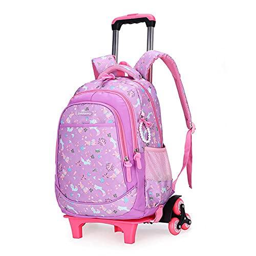 Mochila grande para niñas con ruedas para almacenamiento escolar, ligera, impermeable, F-31 x 18 x 45 cm