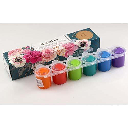 Juego de colores acrílicos para manicura y micropintura para la decoración de las uñas – Colores acrílicos templados 6 tarros ya listos para usar – 150 ml – Kit Nail Art # 4