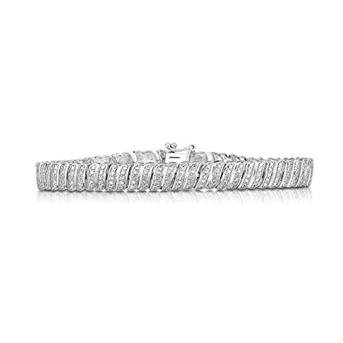 NATALIA DRAKE 1/4 Cttw Diamond S link Tennis Bracelet for Women in Rhodium Plated Sterling Silver (Color I-J / Clarity I-I3)