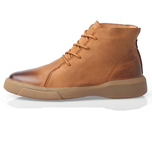 ZJHTK Botas Hombre Invierno Trekking Boots Antideslizante Casuales Vintage Botas Ponible Transpirable Impermeables Zapatos,Marrón,43