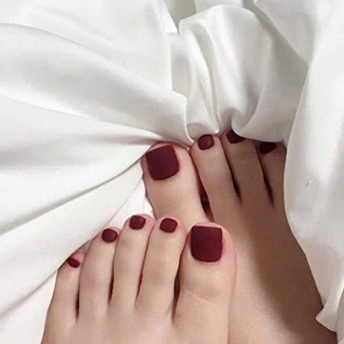 Yean Mat Faux Ongles Noirs Faux Pieds Ongles Couverture Complète Bouts D'ongles D'orteils Artificiels pour Femmes et Filles