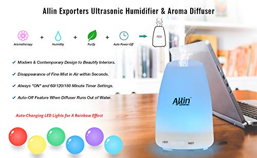 URPOWER 3 In 1 Ultrasonic Aroma Essential Oil Diffuser and Cool Mist Humidifier with Adjustable Mist-Mode - 100ml