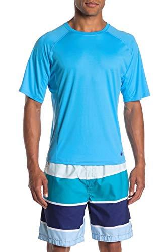 Beach Bros. Men's UPF 50+ Swim Shirt - Short Sleeve Quick Dry Rashguard - Turq/Grey Stitching, Medium
