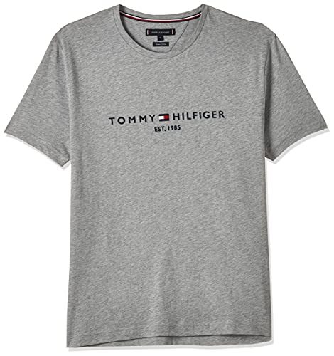 Tommy Hilfiger Herren Tommy Logo Tee Sporttop, Grau (Cloud Htr 501), Medium
