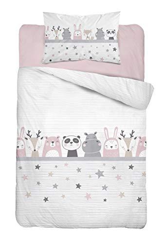 Soft Dream Kinderbettwäsche Babybettwäsche 100x135 40x60 Verschiedenen Motiven mit Tiere für Mädchen und Jungen (100 x 135 cm, Schlafende Tiere (Rosa))