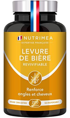 LEVURE DE BIERE REVIVIFIABLE - Levure active - Enrichie en Zinc & Sélénium - Cheveux et Ongles forts - Santé de la Peau - Facilite le transit - 200 gélules vegan - Nutrimea - Fabriqué en France