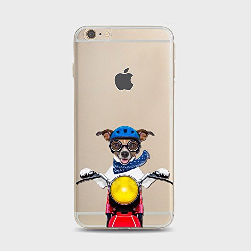 iPhone SE (2020) Case/iPhone 8 Case/iPhone 7 Case(4.7inch),Blingy's Fun Animal Style Transparent Clear Soft TPU Case Compatible for iPhone SE (2020)/iPhone 8/iPhone 7 (Dog on a Motorcycle)