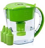 BU-KO Jarra de Agua alcalina DE 3,5 litros, Ionizador de Agua Pura y Saludable, 3 Cartuchos de Filtro incluidos, PH Test Strip BPA (Verde)