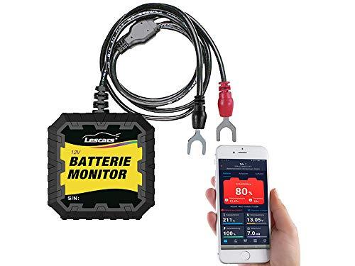 Lescars Batteriewächter: Kfz-Batterietester und -Wächter für 12 Volt, mit Bluetooth & App, IP65 (Batteriemonitor)