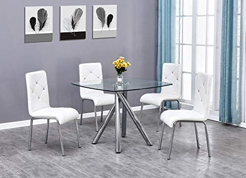 TMEE Dining Table and Chairs Set 4 Square Chrome Modern Metal Dining Clear Glass Table Diamond Chair(1 Table + 4 Chair) (White)