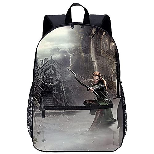 LGBCK 3D Schultasche The Hobbit 2: Gandalf, Tarrell Leichte Laptoptasche, geeignet für Studenten, Jugendliche, Jungen und Mädchen, Bücher, Laptops, Reisen und Camping