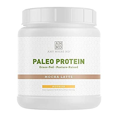 Mocha Latte Pure Paleo Protein by Dr Amy Myers ? Clean Grass Fed, Pasture Raised Hormone Free HyrdoBEEF Protein, Non-GMO, Gluten & Dairy Free ? 21g Protein Per Serving ? Mocha Shake for Paleo and Keto