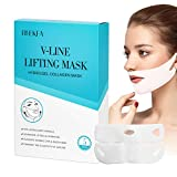 RNEKFA 5Pcs V Line Shaping Face Mask, Chin Up Patch, Double Chin Reducer Strap Reusable, Anti-Aging and Anti-Wrinkle Strap, Lifting Hydrogel Collagen Mask with Aloe Vera, Firming and Tightens for Men and Women