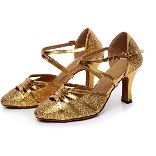 PIVFEDQX Zapatos de Baile, Zapatos de Baile de Fiesta de Salsa Latina, Zapatos de Baile de salón con tacón, Sandalias para Mujer,