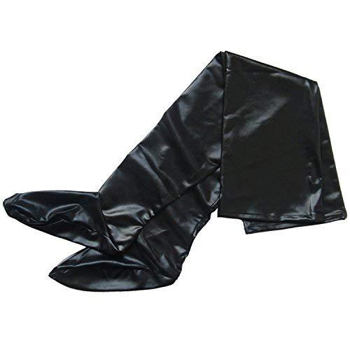 TiaoBug Calcetines Largas Altas Ajustados de Cuero Imitación Negro Sexýs Medias de Liga Erótica Mujer