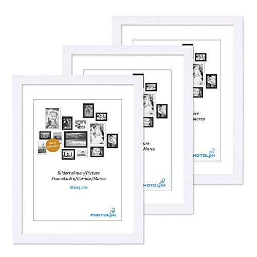 PHOTOLINI 3er Set Bilderrahmen 18x24 cm Modern Weiss aus MDF mit Acrylglas/Portraitrahmen/Wechselrahmen