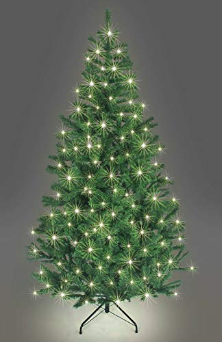 SHATCHI Pre-Lit Alaskan Pine Artificial Christmas Tree with LEDs Metal Stand Tips Xmas Holiday Home Decorations, 4Ft-12ft Black, Green W/Warm White, 8Ft/240CM