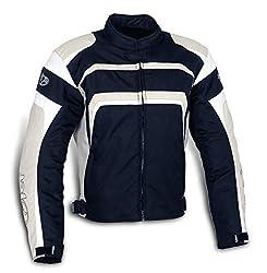 Jet Motorradjacke Motoradkleidung Herren Mit Protektoren Textil Wasserdicht Winddicht STRIKER (L (EU 50-52), Silber-Grau)