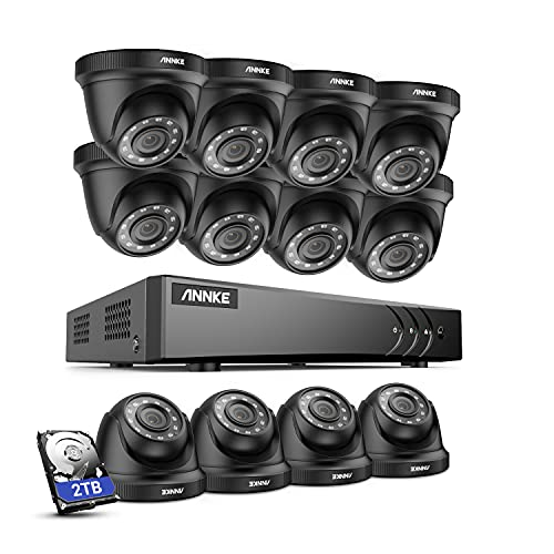 ANNKE 2TB HDD 16 Channel 5MP DVR Video CCTV System with 12x 1080p Outdoor...
