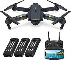 EACHINE E58 Drone con Camara HD 2.0MP 720p Wide Angel Drone con Camara Profesional Drone Video Profesional Drone para Niños WiFi App para iOS/Android (3 Baterías)