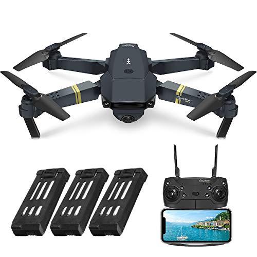 EACHINE E58 Drohne mit Kamera 720P HD Kamera, Live Übertragung,120°WeitwinkelWiFi FPV Quadrocopter, App-Steuerung, One Key Start/Landung,Headless Modus,Pocket Drohne für Anfänger, 3 AKKU ,Schwarz