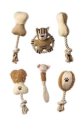 Hundespielzeug, 6 quietschende Plüschtiere, ideales Welpenspielzeug, nachhaltig hergestellt aus Baumwolle, perfekt für mittlere und kleine Hunde sowie Hundewelpen (Beige)
