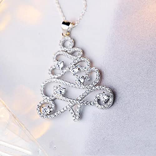 ShFhhwrl Necklace Personality Fashion Wild Christmas Tree Crystal Clavicle Chain Pendant Necklaces