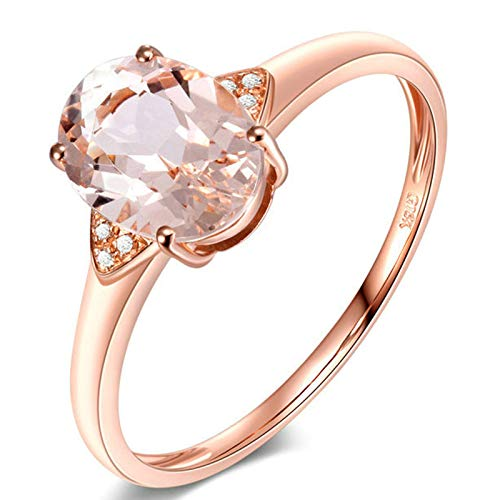 AmDxD Anillo Oro Mujer 18 Kilates, Anillo Compromiso Boda 1ct Ovalada Morganita con 6pcs Diamante, Oro Rosa, Tamaño 22 (Perímetro: 62mm)