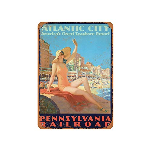 Atlantic City Via Pennsylvania Railroad 2 Vintage Aluminum Metal Signs Tin Plaques Wall Poster for Garage Man Cave Cafee Bar Pub Club Shop Outdoor Home Decoration 12