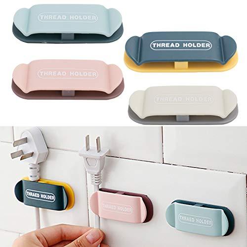 Clips de Cable 4 Piezas Organizador de Cable Duraderos Cables Fijación con Autoadhesivo Fuerte Para Baño, Cocina, Sistema De Entretenimiento Hogar U Oficina