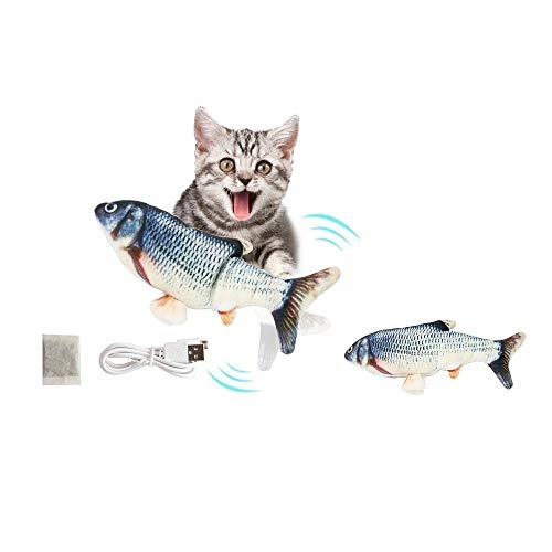 LDENO Flopping Fisch Katzenspielzeug, realistisch und interessant Plüsch Flippity Fisch, der schwingt (Simulation interaktives Spielzeug für Indoor Katzen Haustiere) perfekt zum Beißen, Kauen, Treten